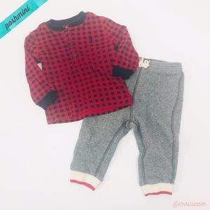 [Ralph Lauren] Red Plaid Top & Gray Sweatpant Set
